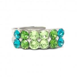 Gyűrű két sor Swarovski® kristállyal díszítve