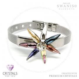 3D csillag karkötő Swarovski® kristállyal díszítve fém szíjjal
