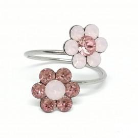 Dupla virág gyűrű Swarovski® kristállyal díszítve