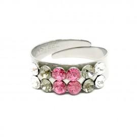 Virág gyűrű Swarovski® kristállyal díszítve