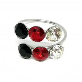 Két soros gyűrű Swarovski® kristállyal díszítve
