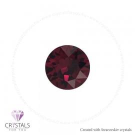 Swarovski® kristállyal díszített kör alakú fülbevaló - 32 Ruby szín