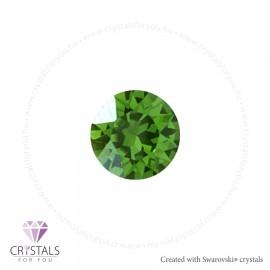 Swarovski® kristállyal díszített kör alakú fülbevaló - 36 Fern Green szín