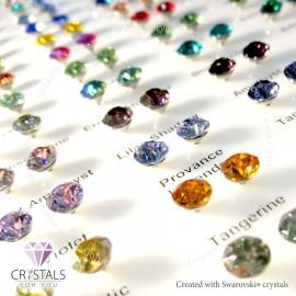 Swarovski® kristállyal díszített kör alakú fülbevaló - 33 Chrysolite szín