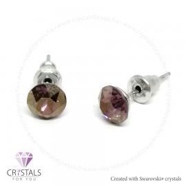 Swarovski® kristállyal díszített kör alakú fülbevaló - 42 Lilac Shadow szín