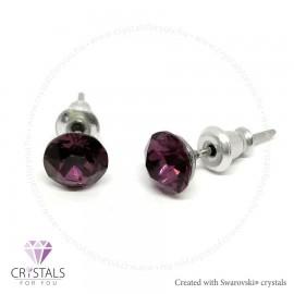 Swarovski® kristállyal díszített kör alakú fülbevaló - 43 Amethyst szín