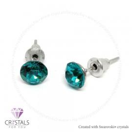 Swarovski® kristállyal díszített kör alakú fülbevaló - 39 Blue Zircon szín