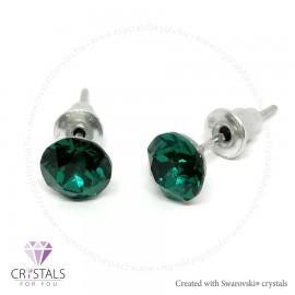 Swarovski® kristállyal díszített kör alakú fülbevaló - 40 Emerald szín
