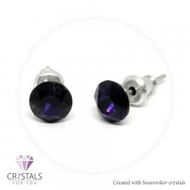 Swarovski® kristállyal díszített kör alakú fülbevaló - 48 Purple Velvet szín