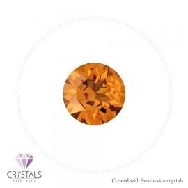 Swarovski® kristállyal díszített kör alakú fülbevaló - 50 Tangerine szín