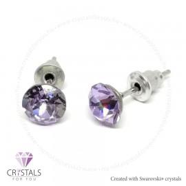 Swarovski® kristállyal díszített kör alakú fülbevaló - 45 Violet szín