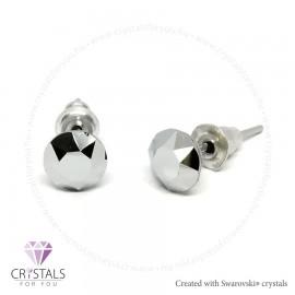Swarovski® kristállyal díszített kör alakú fülbevaló - 57 Light Chrome szín