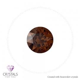Swarovski® kristállyal díszített kör alakú fülbevaló - 52 Smoked Topaz szín