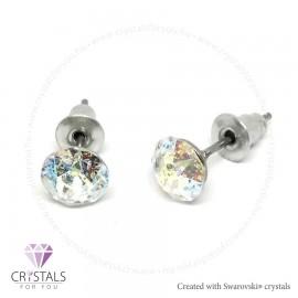 Swarovski® kristállyal díszített kör alakú fülbevaló - 53 White Patina szín