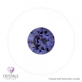 Swarovski® kristállyal díszített kör alakú fülbevaló - 47 Tanzanite szín