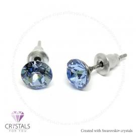 Swarovski® kristállyal díszített kör alakú fülbevaló - 18 Light Sapphire 01 szín