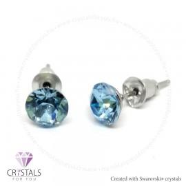 Swarovski® kristállyal díszített kör alakú fülbevaló - 19 Aquamarine szín