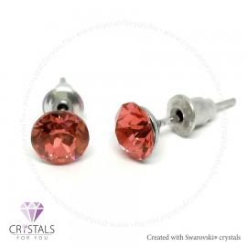 Swarovski® kristállyal díszített kör alakú fülbevaló - 28 Padparadscha szín