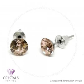 Swarovski® kristállyal díszített kör alakú fülbevaló - 07 Vintage Rose szín