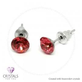 Swarovski® kristállyal díszített kör alakú fülbevaló - 29 Indian Pink szín
