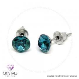 Swarovski® kristállyal díszített kör alakú fülbevaló - 15 Indicolite szín