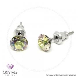 Swarovski® kristállyal díszített kör alakú fülbevaló - 25 Luminous Green szín