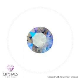 Swarovski® kristállyal díszített kör alakú fülbevaló - 17 Light Sapphire Shimmer szín