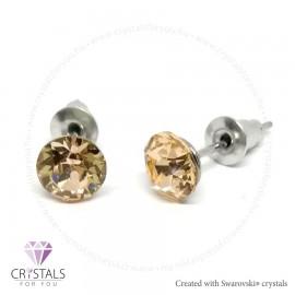 Swarovski® kristállyal díszített kör alakú fülbevaló - 06 Light Peach szín
