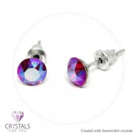 Swarovski® kristállyal díszített kör alakú fülbevaló - 30 Light Siam Shimmer szín