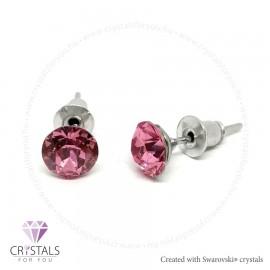 Swarovski® kristállyal díszített kör alakú fülbevaló - 11 Rose szín