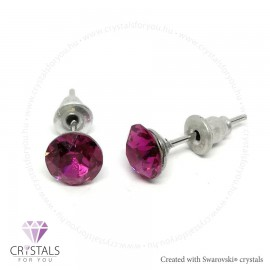 Swarovski® kristállyal díszített kör alakú fülbevaló - 12 Fuchsia szín
