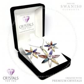 3D virág szett Swarovski® kristállyal díszítve
