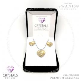 Szív szett sok apró Swarovski® kristállyal és tekla kővel díszítve, szív fülbevalóval