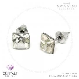 Swarovski® kristállyal díszített négyzet alakú fülbevaló