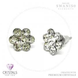 Swarovski® kristállyal díszített virág alakú fülbevaló kövekből kirakva
