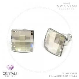 Swarovski® kristállyal díszített négyzet alakú fülbevaló rácsos csiszolással