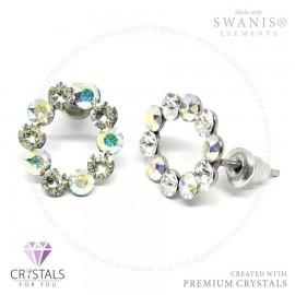 Swarovski® kristállyal díszített kör alakú fülbevaló kövekből kirakva