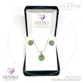 Mandala motívumos kör medálos szett Swarovski® és Swanis® prémium kristályokkal díszítve