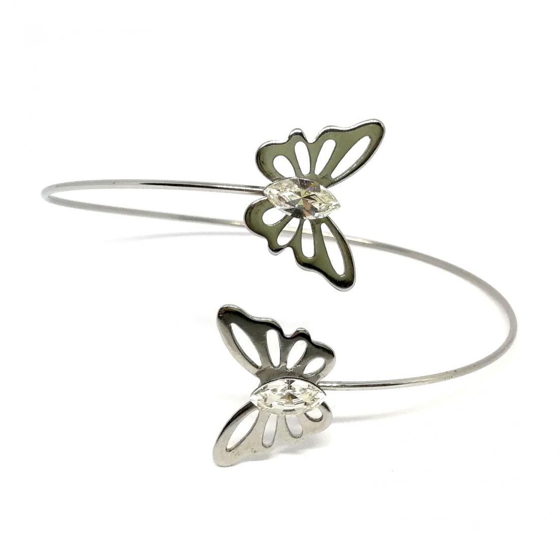 Dupla pillangó karkötő Swarovski® kristállyal díszítve