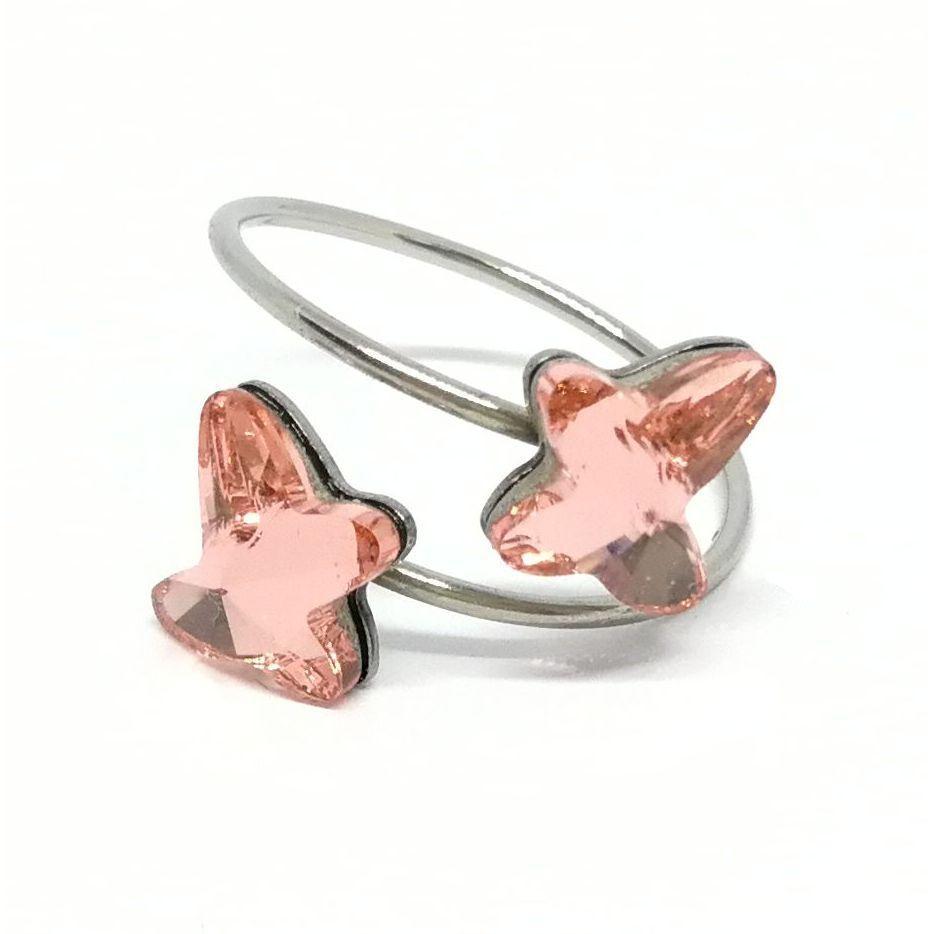 Dupla pillangó gyűrű Swarovski® kristállyal díszítve