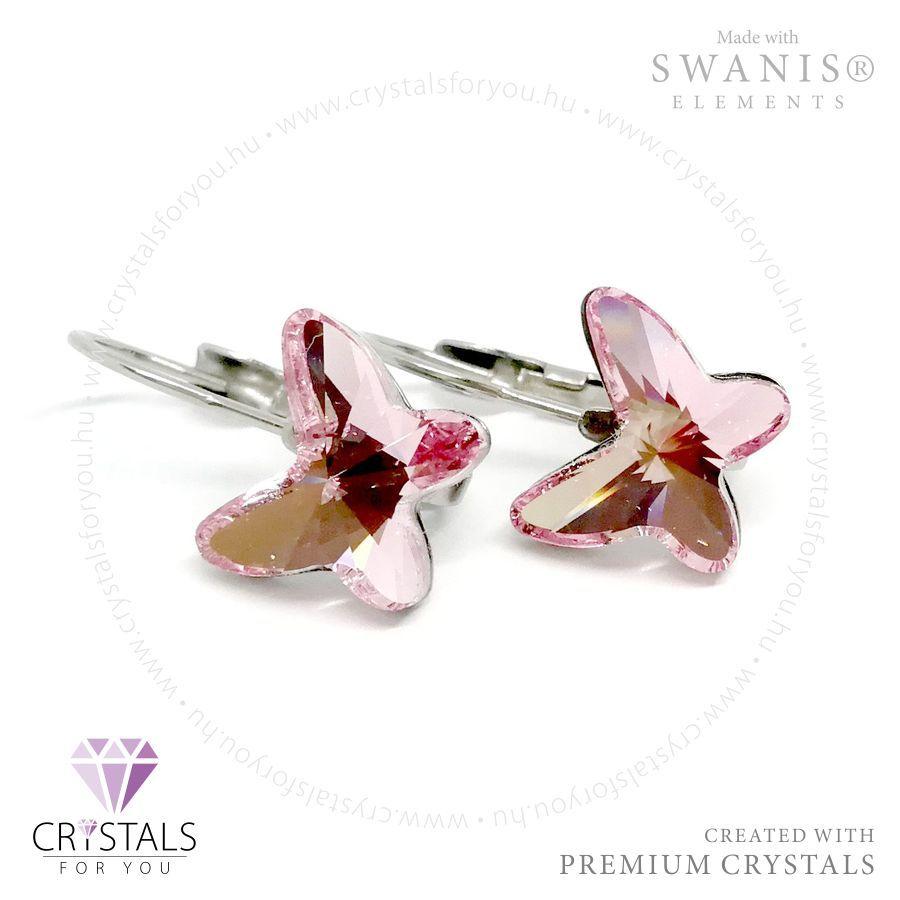 Pillangó alakú Swarovski® kristállyal díszített francia kapcsos fülbevaló