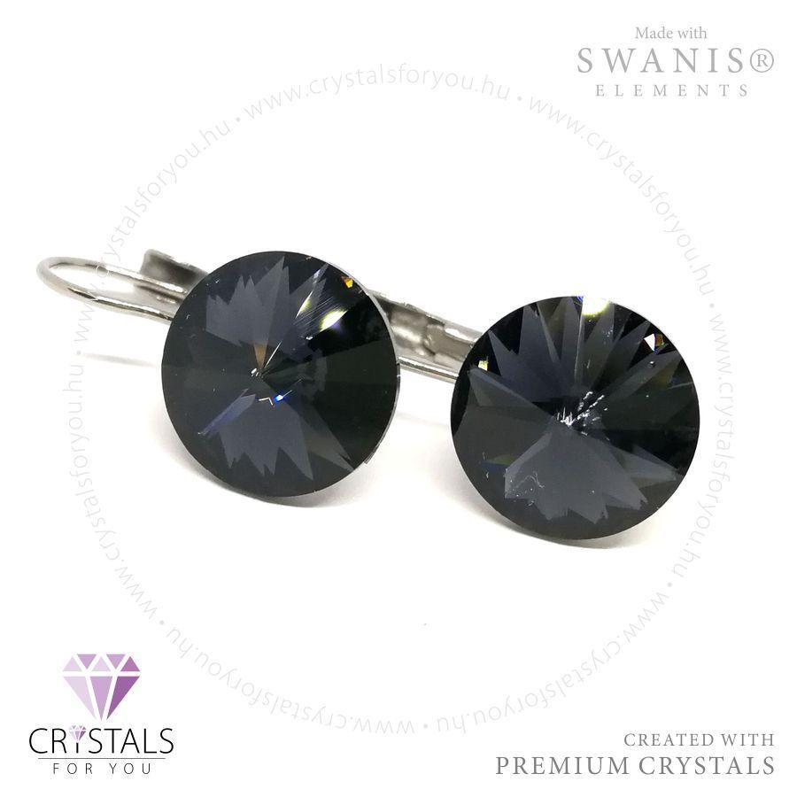 Kör alakú Swarovski® kristállyal díszített francia kapcsos fülbevaló