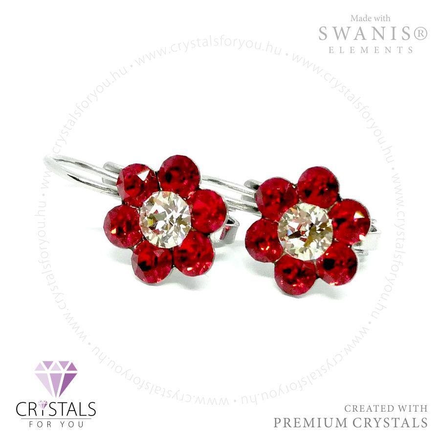 Virág alakú Swarovski® kristállyal díszített francia kapcsos fülbevaló