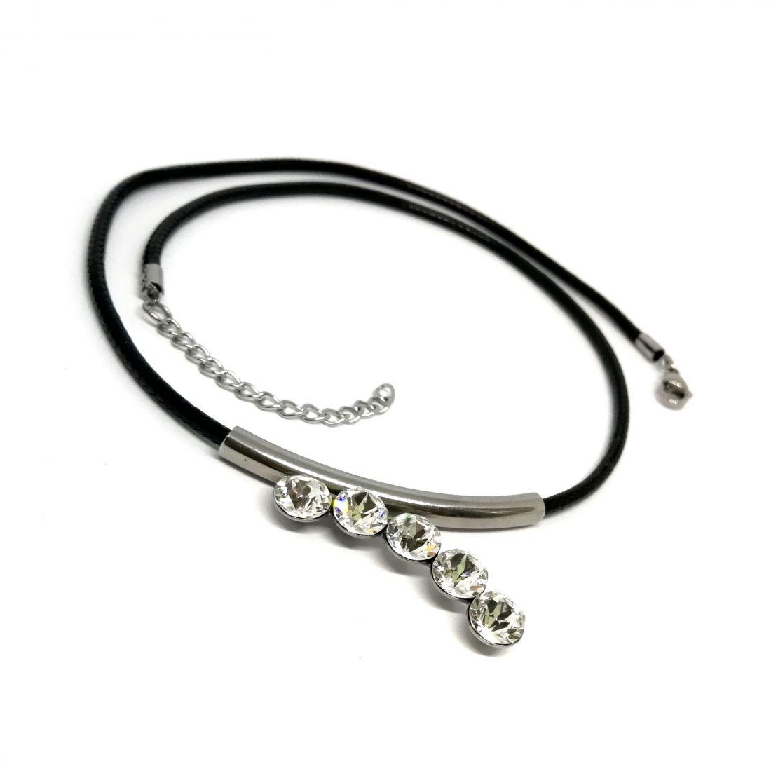 Fém csövecskés nyaklánc Swarovski® kristályokkal díszítve