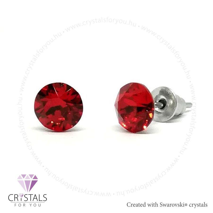 Swarovski® kristállyal díszített kör alakú fülbevaló - 31 Light Siam szín