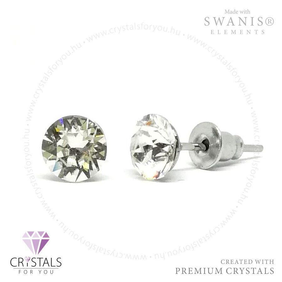 Swarovski® kristállyal díszített kör alakú fülbevaló - 01 Crystal szín