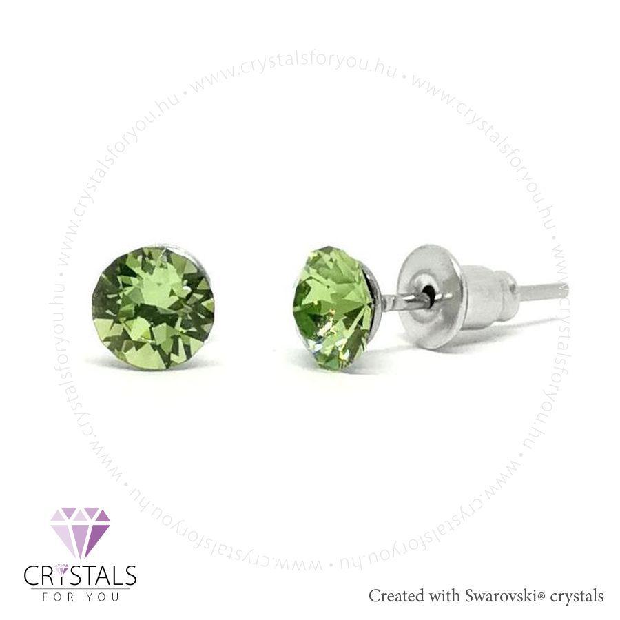 Swarovski® kristállyal díszített kör alakú fülbevaló - 34 Peridot szín
