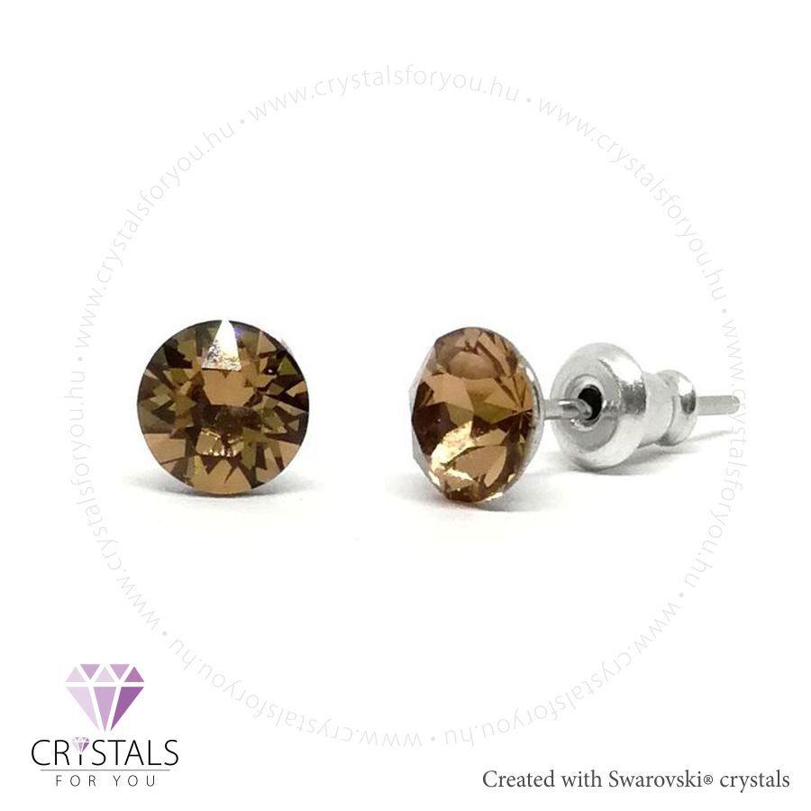 Swarovski® kristállyal díszített kör alakú fülbevaló - 51 Light Smoked Topaz szín