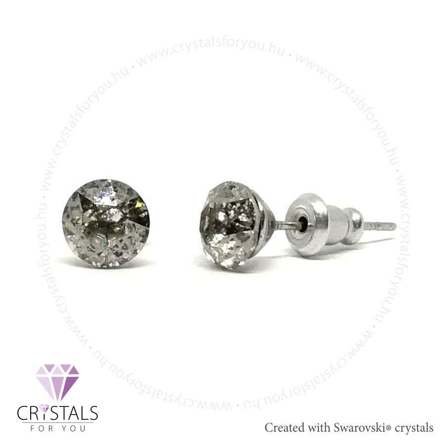 Swarovski® kristállyal díszített kör alakú fülbevaló - 54 Silver Shade szín