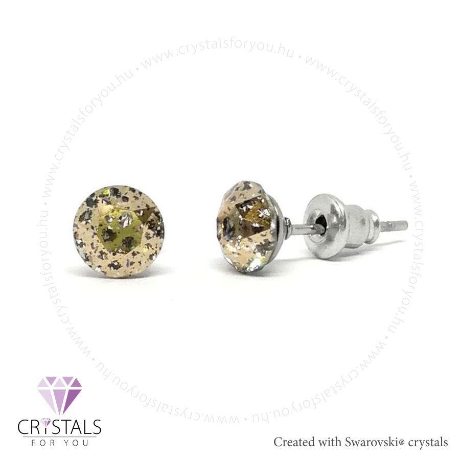 Swarovski® kristállyal díszített kör alakú fülbevaló - 55 Rose Patina szín